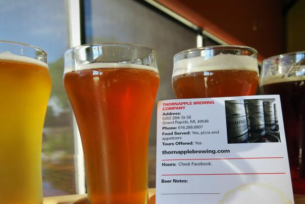 Four types of beer available at Thornapple Brewing