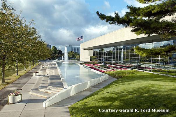 A view of the front of the Gerald R. Ford Presidential Museum.