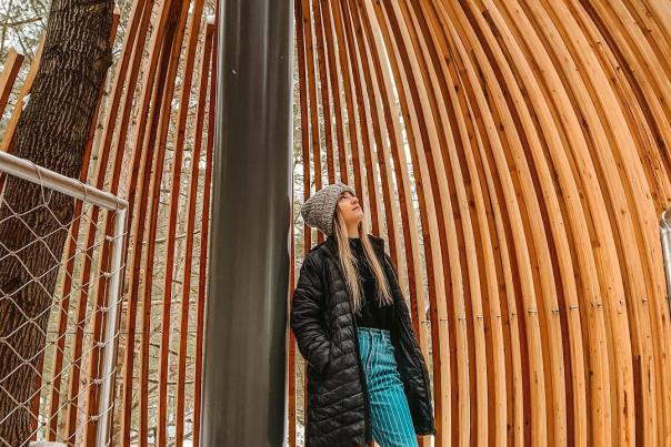 UGC - Seasonal - Winter - Dow Gardens - Girl Looking Up at Wooden Pod Structure - @yagirljodes