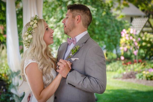 Rose & Matt at their wedding at Avon Gardens