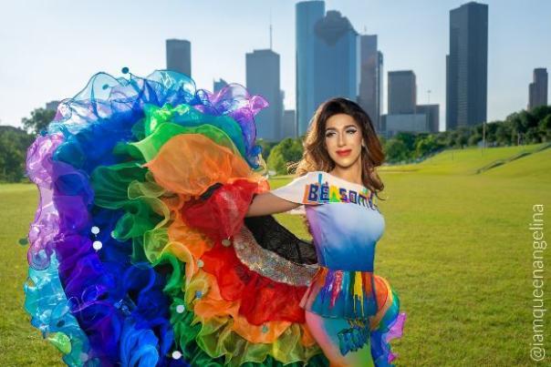 Angelina DM Trailz with the Houston skyline