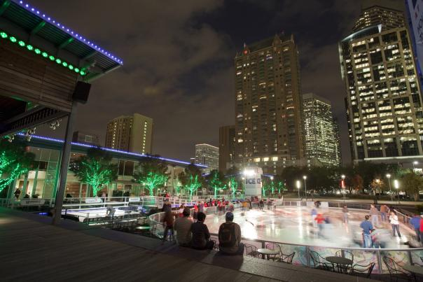 Ice Skating at Discovery Green (night)