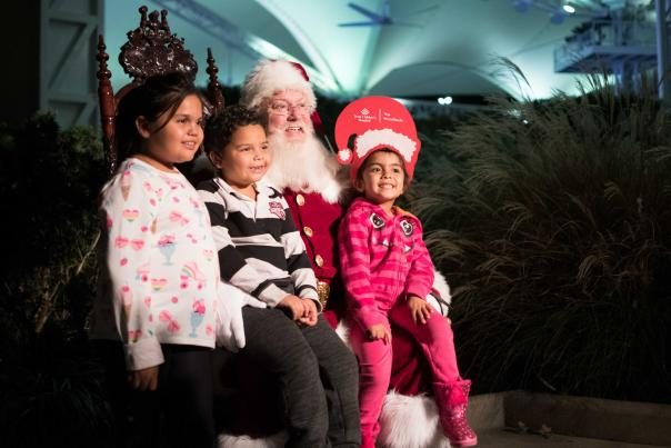 Children sitting on Santa's lap for a picture in The Woodlands