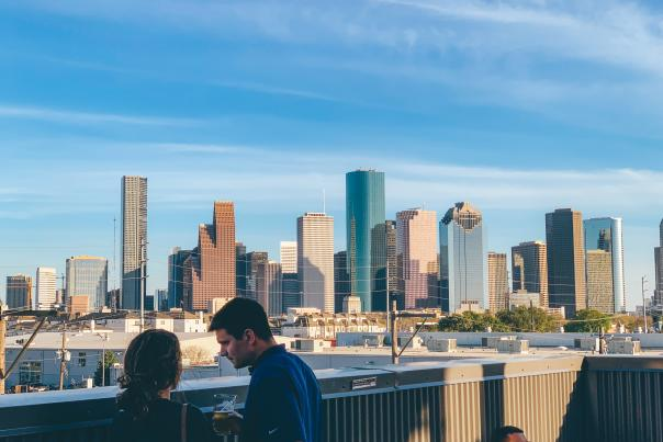 Buffalo Bayou Brewery Skyline View