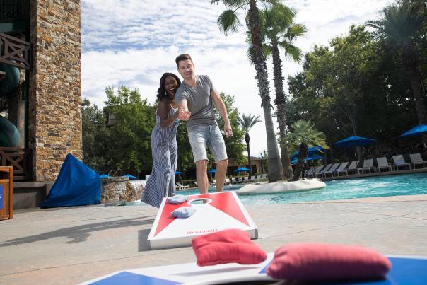 Woodlands Resort Cornhole at the Pool