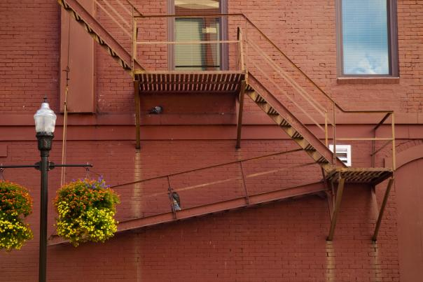Downtown Huntsville stairs and red brick