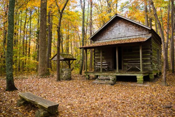 cabin-fall-leaves-Green-Mountain-Madison-County-Nature-Trail