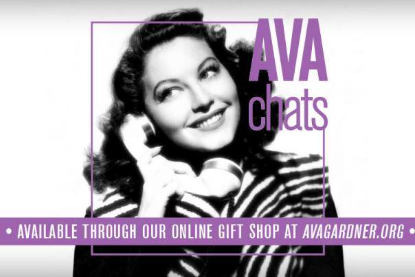 Ava Chats promotional graphic with image of Ava Gardner holding a telephone.