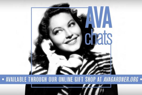 Ava Chats graphic featuring image of Ava Gardner on the phone