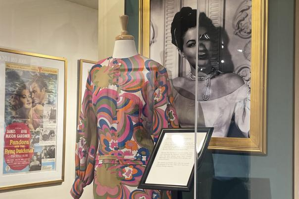 A colorful 1960s gown worn by Ava Gardner on display at the Ava Gardner Museum in Smithfield, NC.