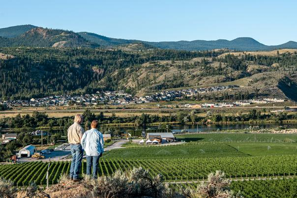 Owners of Harper's Trail Winery overlooking their vineyards.