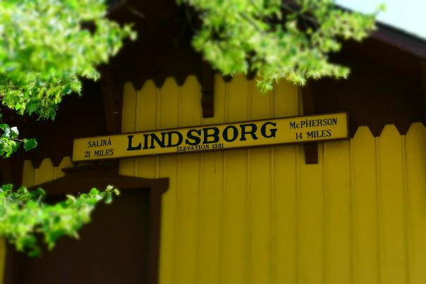 Lindsborg Building Sign at The Old Mill Train Depot in Heritage Square