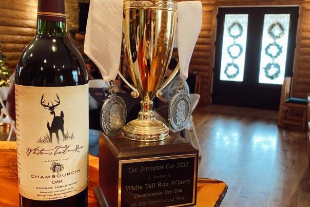 A Bottle of White Tail Run Winery Chambourcin Oak Wine in Edgerton, KS