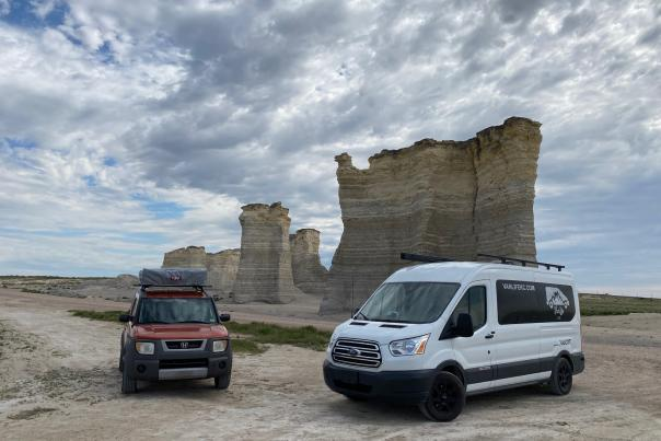 """This is out in Western KS and will also be featured in an upcoming post. We were driving """"Orange You Glad"""" and just happened to meet up with our renters who had """"Vanadium"""" at Monument Rock!"""