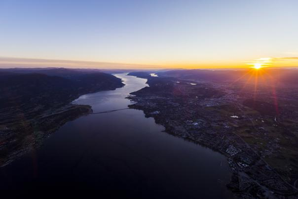 Aerial View of Kelowna at Sunrise