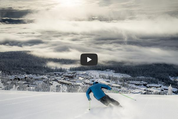 Skiing at Big White with YouTube play button