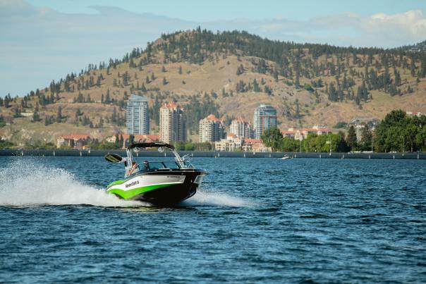 Boating on Okanagan Lake with Downtown in Background