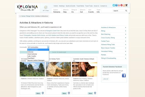 Tourism Kelowna Website