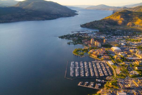 Downtown Kelowna Lakefront Aerial