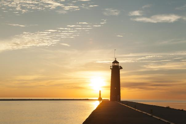 sunrise and North Pier Lighthouse