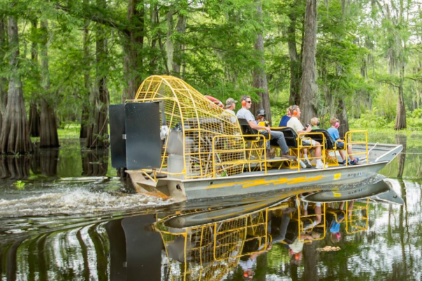 Airboat Sailing Through Swamp From McGee's Ventures In Lafayette, LA
