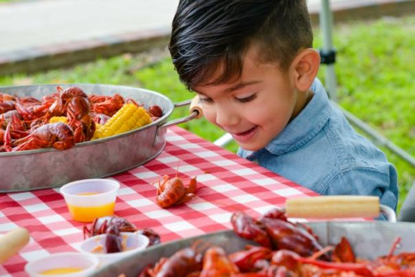 Kid with crawfish