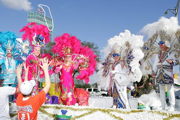 Mardi Gras Krewe on Float