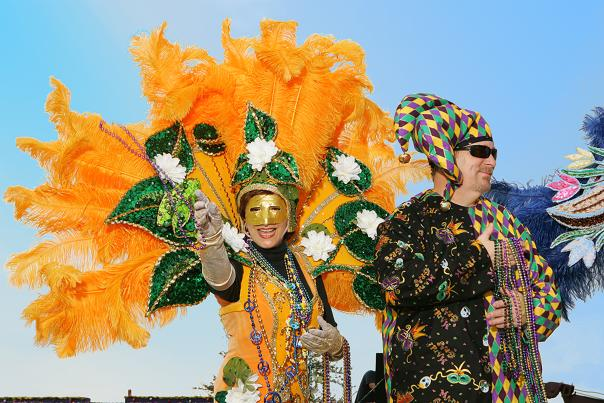 Mardi Gras bead toss