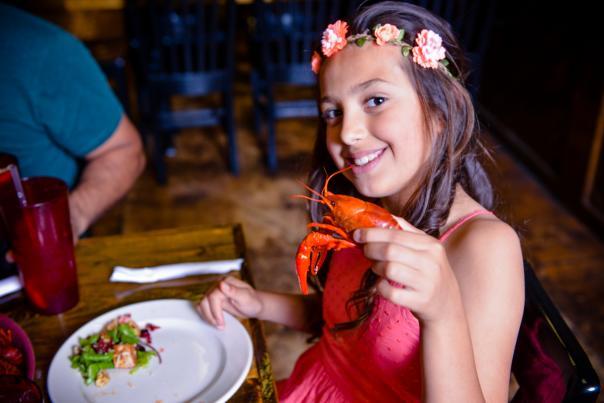 Girl with crawfish