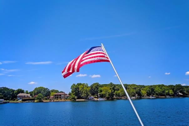 Flag over Lake Norman