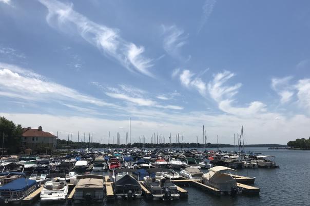 blue skies, marina