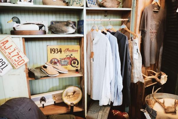 clothing items at Moxie and Mercantile in Downtown Davidson