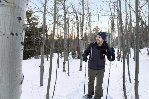 Snowshoeing in the aspen trees
