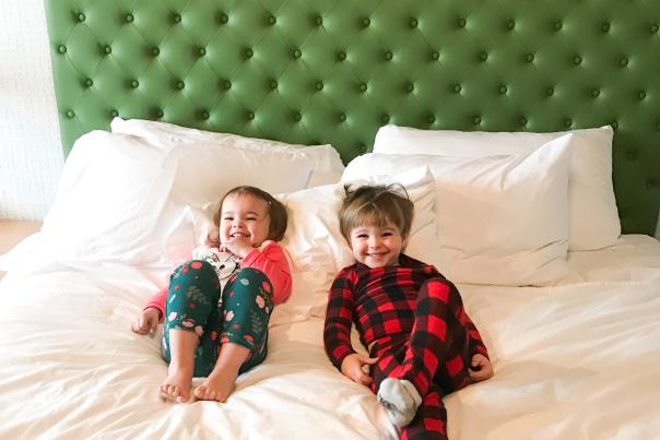 Gifford kids on bed - Origin Hotel