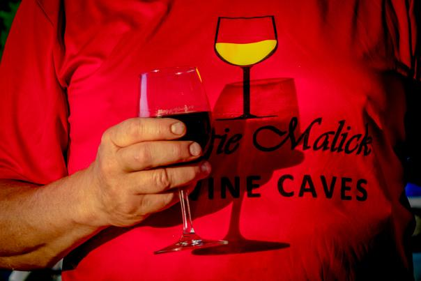 tshirt and glass - wine cave