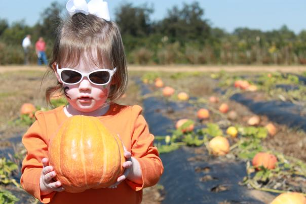 Fall Pumpkin and Child