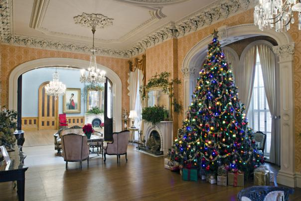 Hay House Interior at Christmas