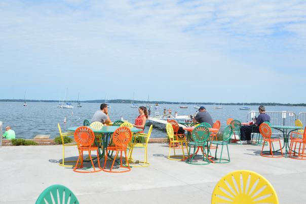 People enjoy Memorial Union Terrace on a sunny day