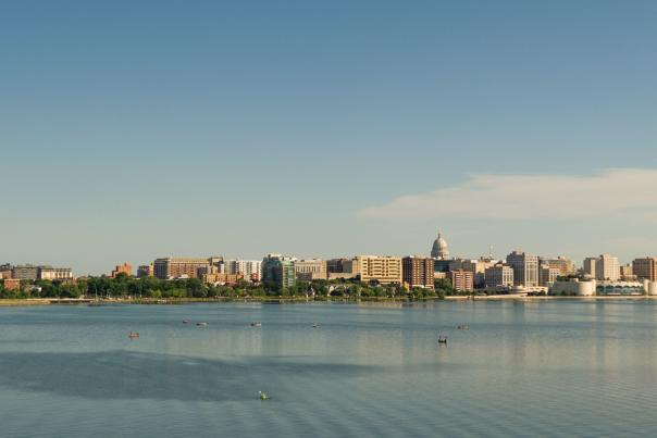 Downtown Madison skyline from a drone over Lake Monona