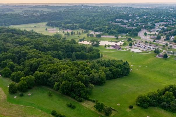 An aerial shot of Elver Park