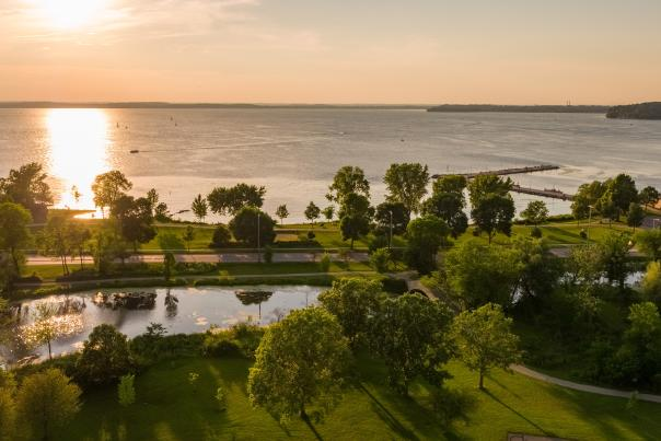 Tenney Park as the sun sets over Lake Mendota