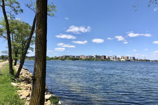 A view of downtown Madison from the lake loop path
