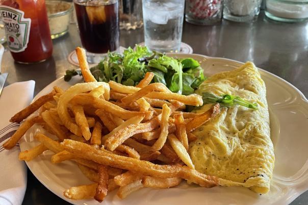 Sardine omelette and frites