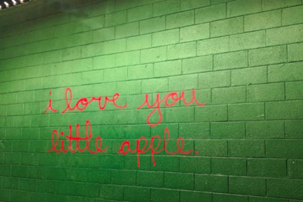 I love you little apple art mural