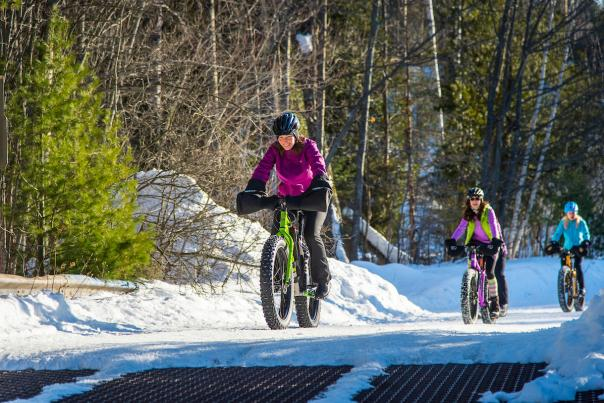 Winter cycling fat biking snow biking in Marquette, Michigan.