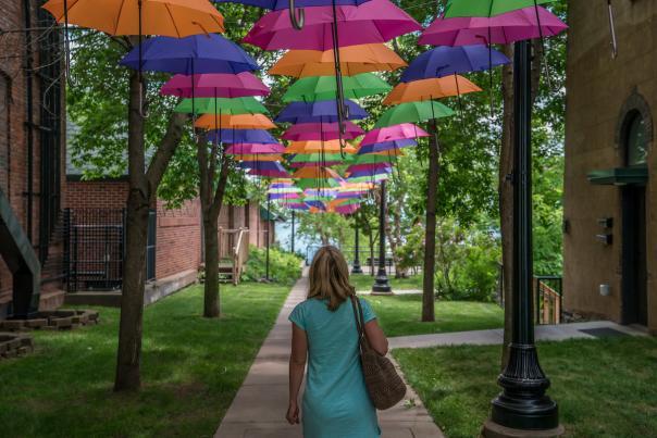 Umbrella art installation in Marquette, Michigan.