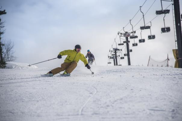Man Skiing On Marquette Mountain