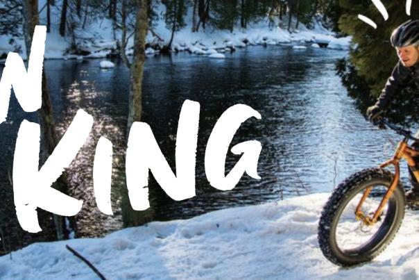 Fat biking on snow bike trails in Marquette MI