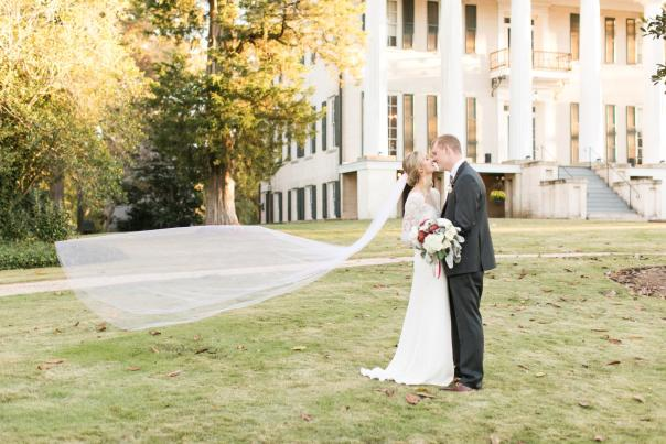 Bride and Groom Kissing at Rose Hill at Lockerly in Milledgeville, GA