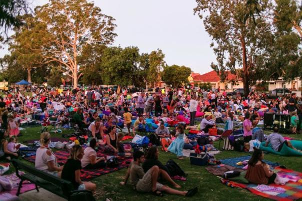 Outdoor movie crowd